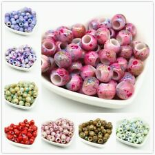 50 Pcs 10 mm Round Beads with Big Hole for Jewellery DIY Accessories Partywear