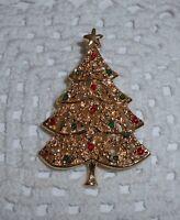 Vintage AAi Signed Enamel Christmas Tree Brooch/Pin Gold-tone C23