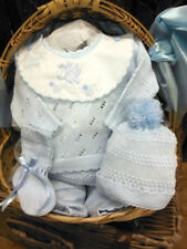 NWT Will'beth Blue Knit 4pc Set Newborn Baby Boys Pom Hat Booties Bib Welcome
