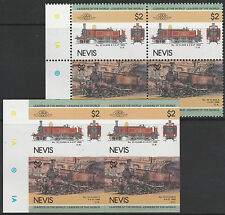 Nevis (1610) - 1984 LOCOMOTIVES  IMPERF Block plus matched normal unmounted
