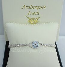 ARABESQUES JEWELS GENUINE STERLING SILVER EVIL EYE/HAMSA TENNIS SLIDER BRACELET