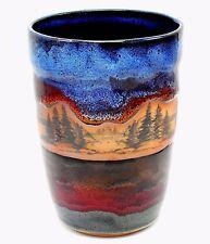 """Studio Art Pottery Wine Cooler Chiller Utensil Holder Vase Mountain Tree Blue 8"""""""