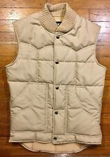 Vintage 70s Puffy Vest Sears Western Outdoor Tan Khaki Beige Small Spotless
