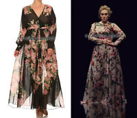 BLACK CHIFFON FLORAL MAXI Wrap DRESS Long Sleeve Full Length PLUS SIZE 1X 2X 3X