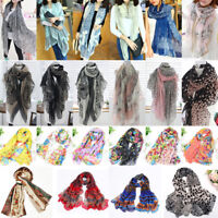 Women Ladies Long Flower Print Chiffon Neck Scarf Scarves Wrap Soft Stole Shawl