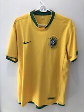 RARE Brasil World Cup NIKE Dri Fit Soccer Yellow Jersey Mens Large Brazil Futbol