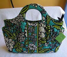 "Vera Bradley Abby ""Island Blooms"" Cotton Teal White Lime Green Handbag Purse NWT"