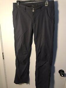 Women's PrAna Breathe Roll Up Hiking Camping Pants Dark Gray Size 8 Nylon