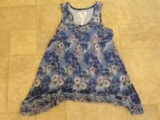 Justice Girls Blue Lined Floral Polyester & Lace Sleeveless Shirt Size 10