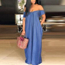 Women Demin Blue Off Shoulder Cocktail Party Evening Maxi Long Dress Plus Size
