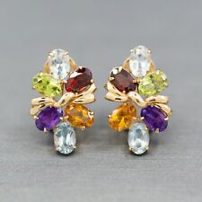 Multi Color Rainbow Gemstone Cluster Earrings in 14k Yellow Gold