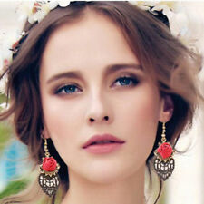 1 Pair Vintage Women Rose Flower Drop Earring Black Lace Dangle Earrings Jewelry