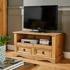 TV Stand Entertainment Unit Solid Pine 2 Drawer Corona Television Cabinet