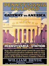 Pennsylvania Railroad New York City United States Travel Advertisement Poster