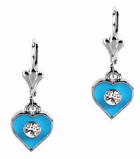 Heart Dangle Enamel Earrings Turquoise Blue Crystal Leverback Grace Of New York