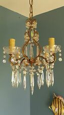 Vintage Petite French Beaded Crystal Chandelier 4 Light Spear Prisms Swags Gilt