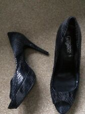 Grey High Heel Peeptoe Shoe Size 8