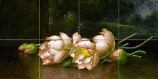 Egyptian lotus blossom Tile Mural Kitchen Bathroom Wall Backsplash Ceramic 24x12