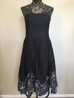 Robbie Bee Dress Size 6 Black Strapless Floral Eyelet 100% Cotton Midi Fit Flare