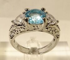 Art Deco Sterling Silver Sz 6.5 Ring Beautiful Large 2 ct Round Cut Blue Topaz