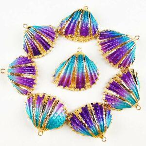 10Pcs Natural Gold Plated Purple/Blue Spiral Seashell Pendant Bead 30g A-2BK