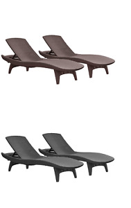 Keter Patio Chaise Lounge 2-Pack UV Protected Weave Resin Chair Furniture