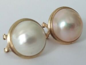 VINTAGE 14k 585 GOLD BUTTON PEARL EARRINGS (6.0 GRAMS) ACID TESTED