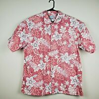 Batik Bay Men's XXL Red Hawaiian Pattern Button Down Front Shirt Short Sleeve