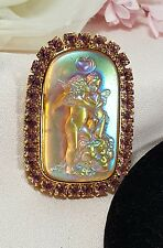 Kirks Folly Opalescent Pink Glass Holograph Kiss Crystal Cherub Angel Brooch Pin