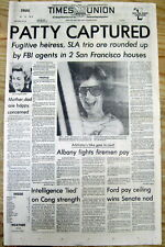 1975 hdlne newspaper Kidnapped heiress PATTY HEARST CAPTURED by FBI - Joined SLA