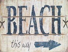 """TIN SIGN """"Beach Arrow"""" Beach Mancave Wall Decor"""