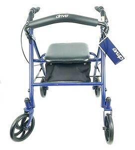 "Drive Medical Rollator Walker Blue 4 Wheels 7.5"" Wheels Folding 300 lb Capacity"
