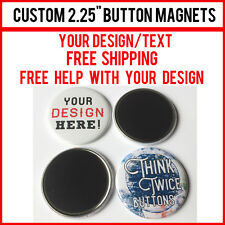 """100 Custom 2.25"""" Inch Button Magnets Indie Bands Rock Pinback Promotional"""