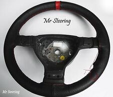 PERFORATED LEATHER WITH RED STRIPE STEERING WHEEL COVER FOR RENAULT CLIO MK2 NEW