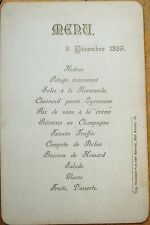 MENU - French 1889: Chevreuil Puree Lyonnaise, Becasses au Champagne