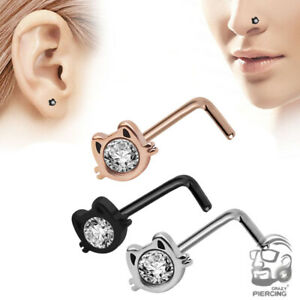 1Pc Cat Face 20G Nose Ring L-Shape Stud Steel CZ Gems Body Piercing Jewelry
