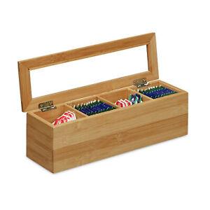 Teebox Bambus länglich, Aufbewahrung von Teebeuteln, Teekiste, Teebeutelkasten