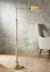 Aged Brass Pharmacy Floor Lamp Adjustable Swing Arm For Living Room - Lamps Plus