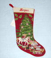 Sferra Christmas Toys Needlepoint Christmas Stocking Monogrammed HARPER New