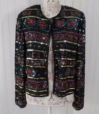 PAPELL BOUTIQUE Navy Multi color Beaded Sequin Embellished Evening Jacket L