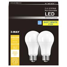 LED 3 WAY 40/60/100W Equivalent A19 Soft White LED Light Bulbs 2 PACK