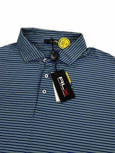 NEW RLX Ralph Lauren Short Sleeve Golf Mens Polo Shirt Green Blue Striped Sz XL
