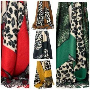 Leopard Print Ladies Scarf Shawl Cashmere Stole Blanket Wrap Animal Women