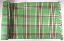 Country Merry & Bright Table Runner 13x36 Green Red White Plaid Cotton Christmas