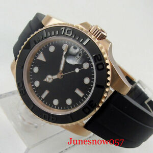 Sterile 24 Jewels NH35 Rose Gold Coated Men Watch Rubber Band Brushed Insert