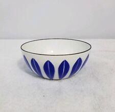 "Cathrineholm Enamelware Cobalt Blue on White 4"" Lotus Bowl MCM Navy Near Mint"