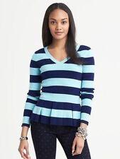 NEW Banana Republic Womens VNeck Blue Stripe Peplum Sweater Cashmere Blend S $79
