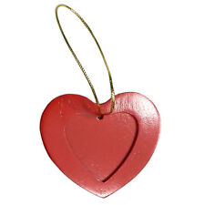 Brid Heart Photo Christmas Ornament Holiday, Tree Ornaments, RED, WOOD, 3 PACK