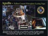 Apollo 1 Teflon-Coated Lacing Tape on Gorgeous Certificate - NASA - Not Flown