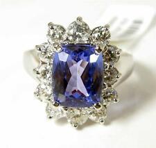 Natural Tanzanite Diamond  3.7CT Engagement Cocktail Ring 14K White Gold VIDEO
